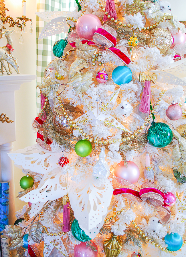 Close-up view of my colorful bold pastel Christmas tree