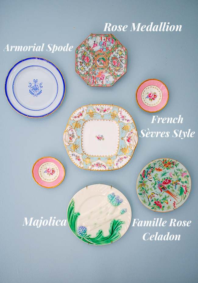antique plates on wall - identification guide