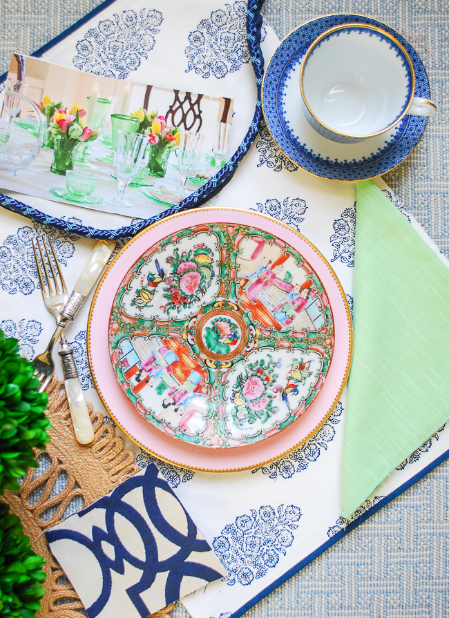 Block print fabrics like this blue and white placemat are a common decorative element in grandmillennial rooms