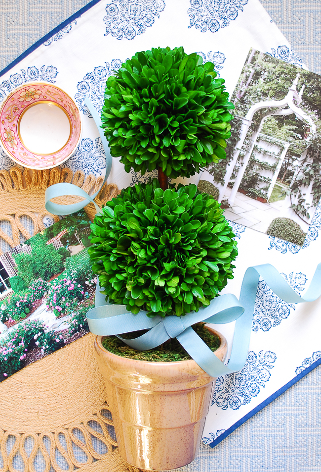 Mood board collage with boxwood topiary tied up with blue bow and magazine clippings of garden against blue background