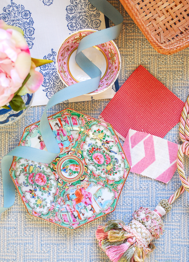 Chinoiserie ceramics like Rose Medallion are an essential of grandmillennial style interiors