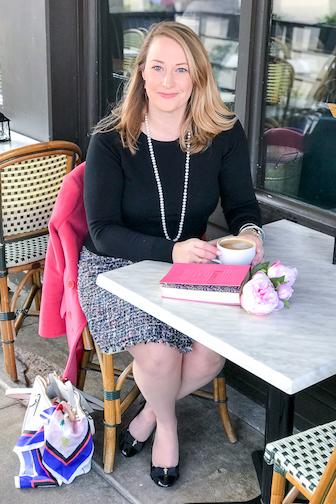 Katherine at cafe table - gracious living manifesto