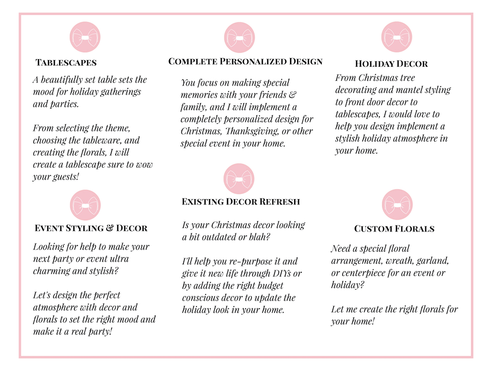 chart of available holiday and event styling services from Katherine of Pender & Peony