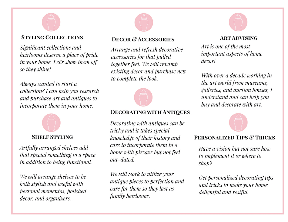 chart detailing home styling services available with Pender & Peony