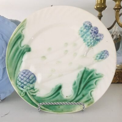 Antique Majolica Asparagus Plate in blue, white, green