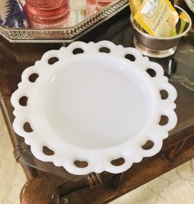 Milk glass dish with pierced scalloped edge