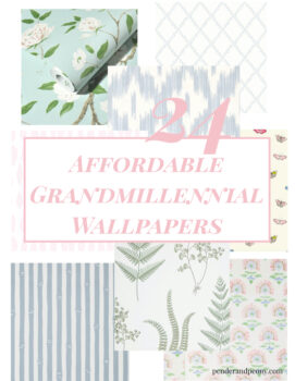 Collage of affordable grandmillennial wallpapers
