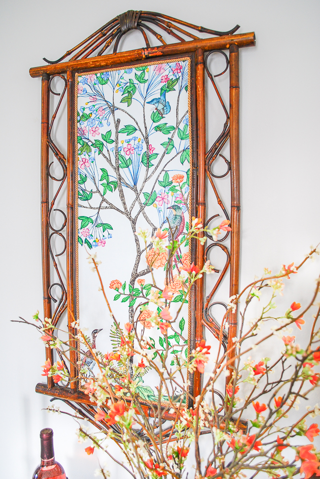 Detail of DIY Chinoiserie panel featuring birds and flowering tree