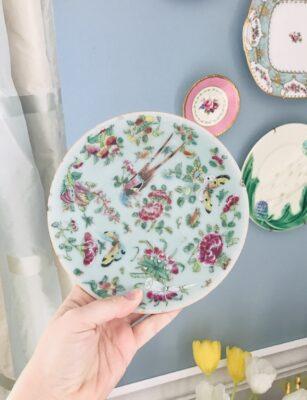 Antique Famille Rose celadon plate