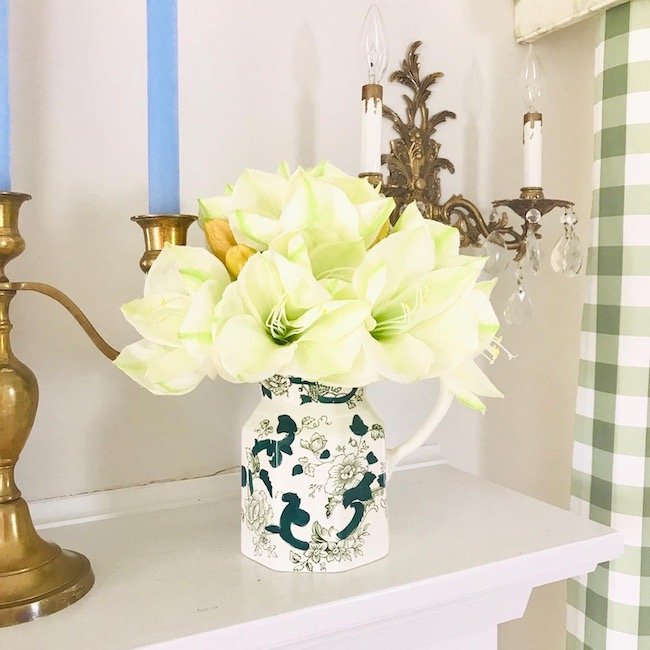 Green floral Mason's Ironstone Pitcher
