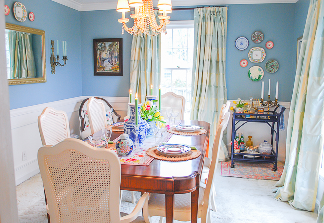 Aqua dining room reveal in new traditional style with wainscoting and crown molding, art, antiques, and whimsy