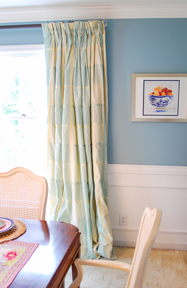 silk taffeta aqua plaid curtains with chinoiserie still life print