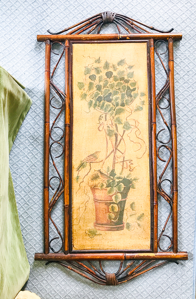 Vintage bamboo panel from thrift shop is basis for new DIY Chinoiserie panel