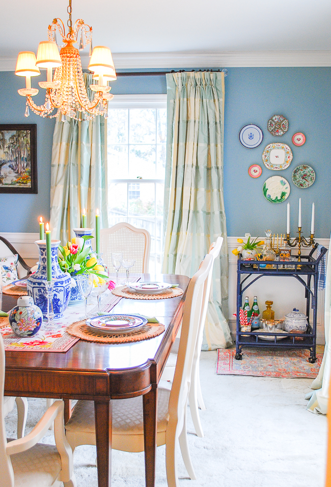 traditional aqua dining room reveal