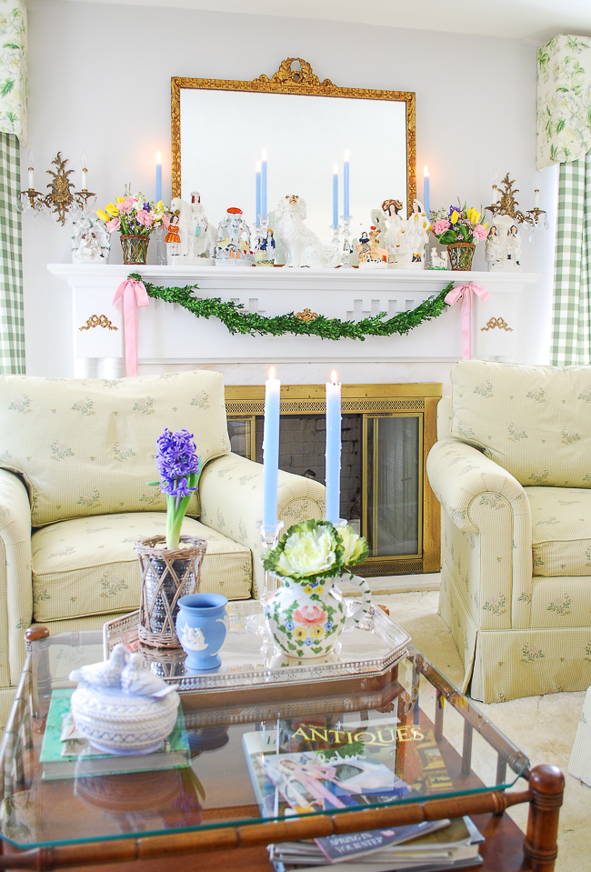 Spring mantel with Staffordshire Flatbacks decorates my living room in the colorful Southern home tour