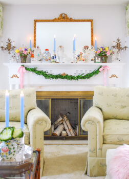 Spring mantel filled with Staffordshire figurines for my colorful Southern home tour