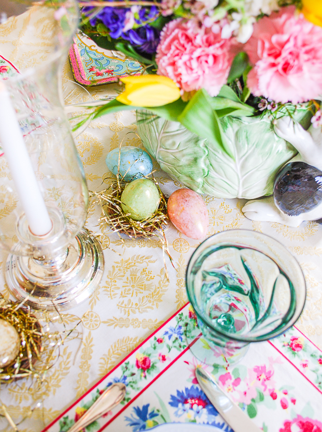 Detail view of colorful Easter eggs spread down the table