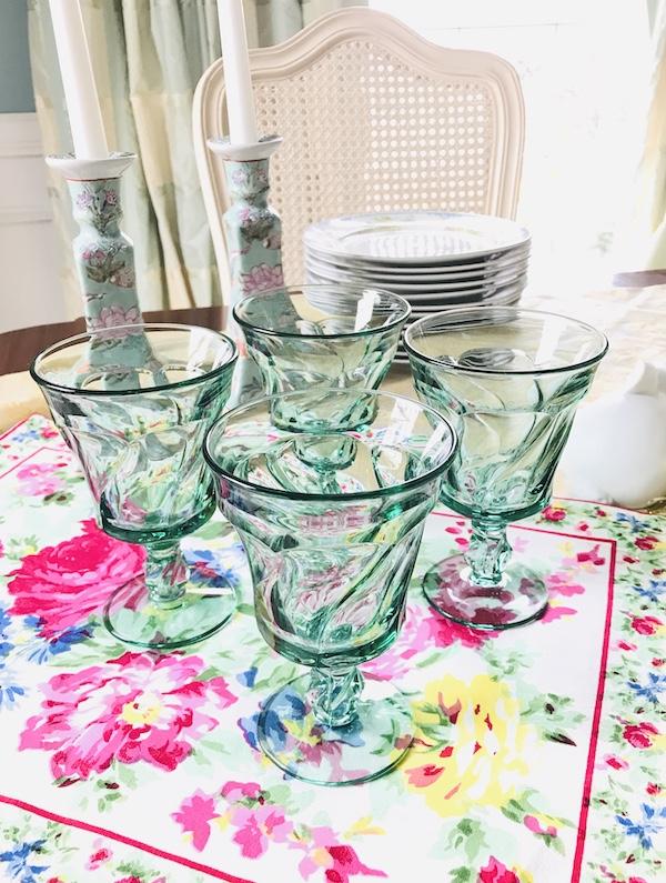 green Fostoria Jamestown goblets - set of 4
