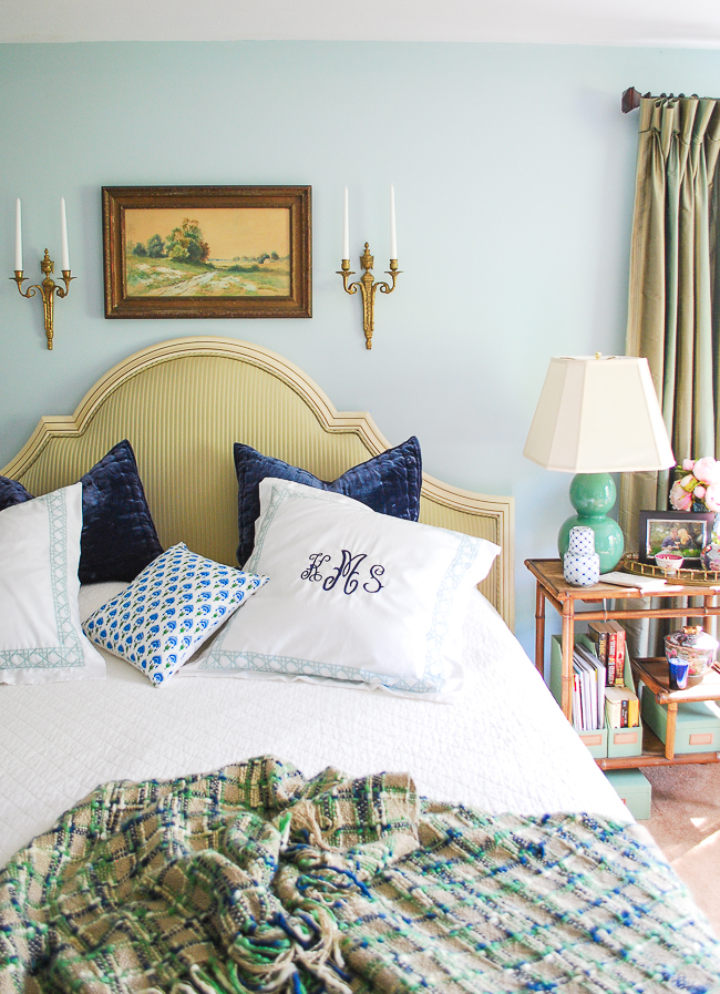 Grandmillennial bedroom gets an update with new pillows, nightstand, and headboard