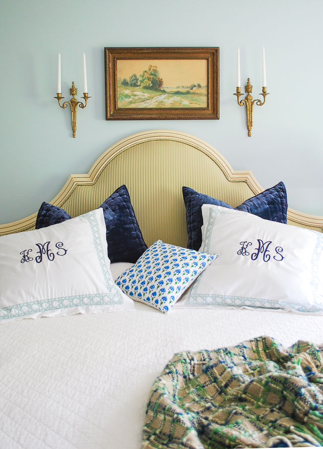 Bedroom styling refresh with new upholstered headboard