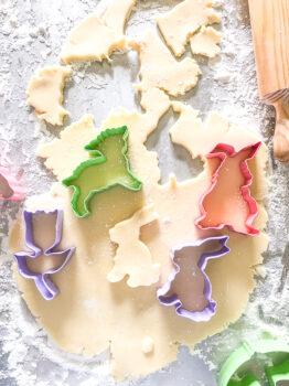 Rolled out sugar cookie dough with spring cookie cutters