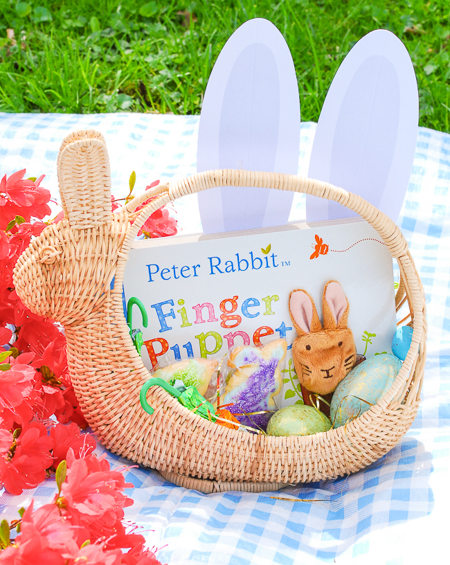 Vintage wicker bunny basket for toddler Easter Basket Inspiration - filled with Peter Rabbit board book, eggs, bunny ears, and sugar cookies