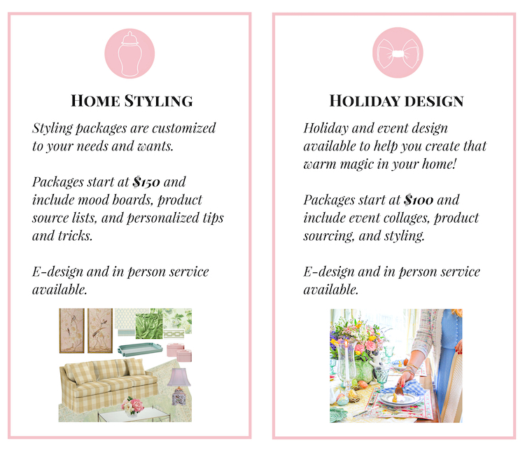 List of home styling and holiday design services with Pender & Peony