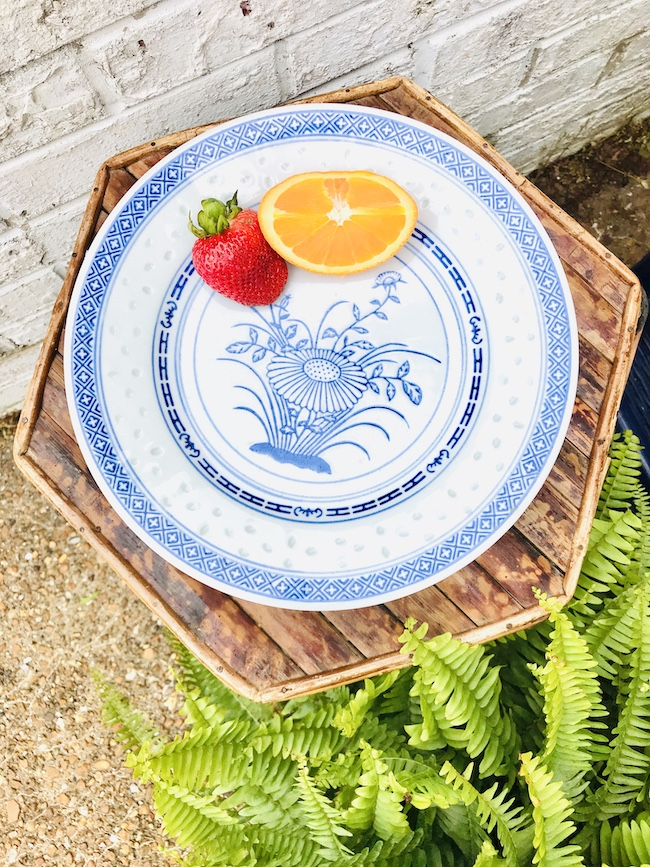 Rice eye plates - blue and white