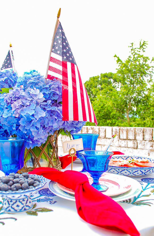 U.S. flag on patriotic tablescape