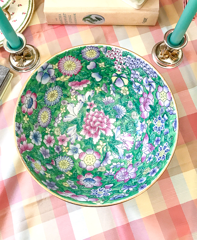Chinese mille fleurs bowl with green ground, pink, blue, and purple flowers