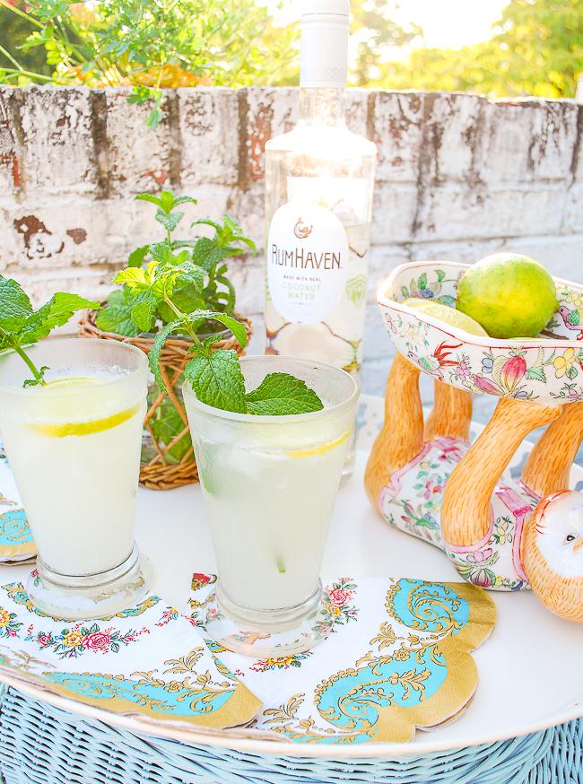 La rochere glass tumblers with coconut mojitos on white tray