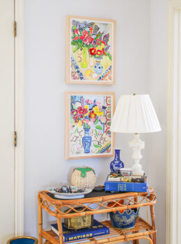 Summer decorating ideas: new floral art in my entry by Nancy Thompson Mills.