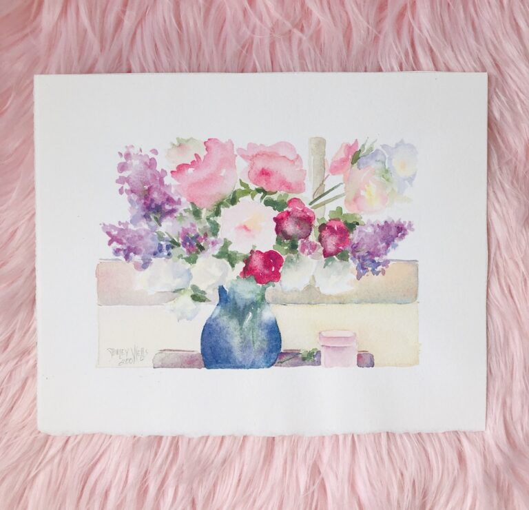 Watercolor floral still life painting