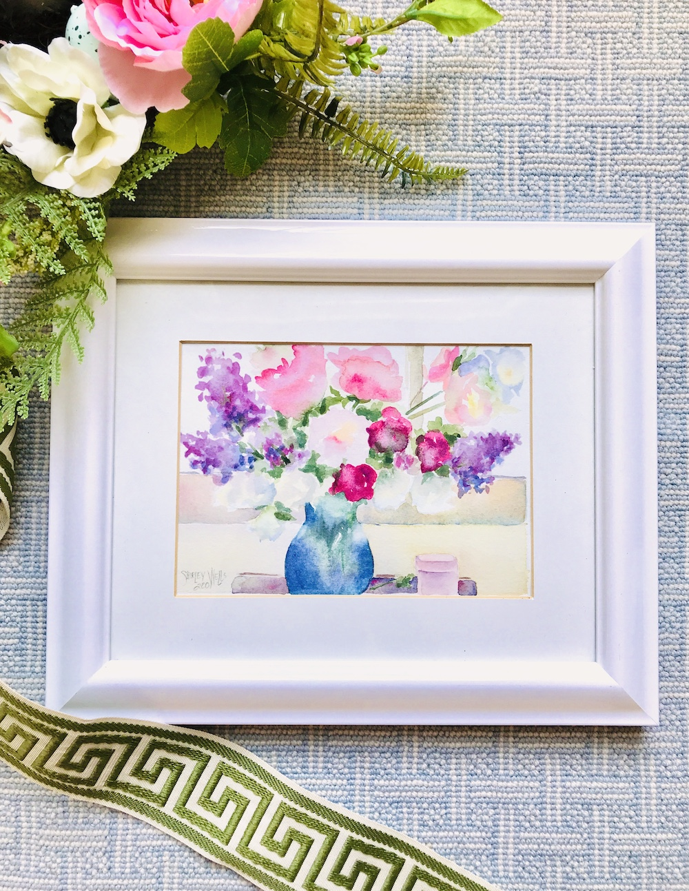 Watercolor floral still life by Shirley Wells