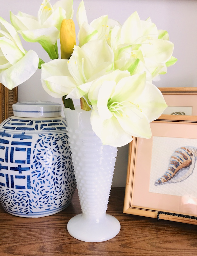 Milk glass hobnail vase