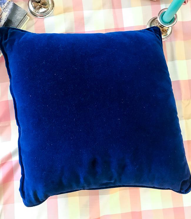needlepoint pillow navy velvet backing