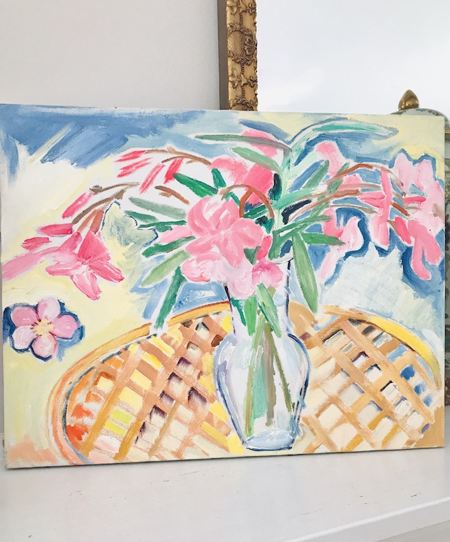 colorful floral still life painting of pink flowers in vase by Nancy Thompson Mills