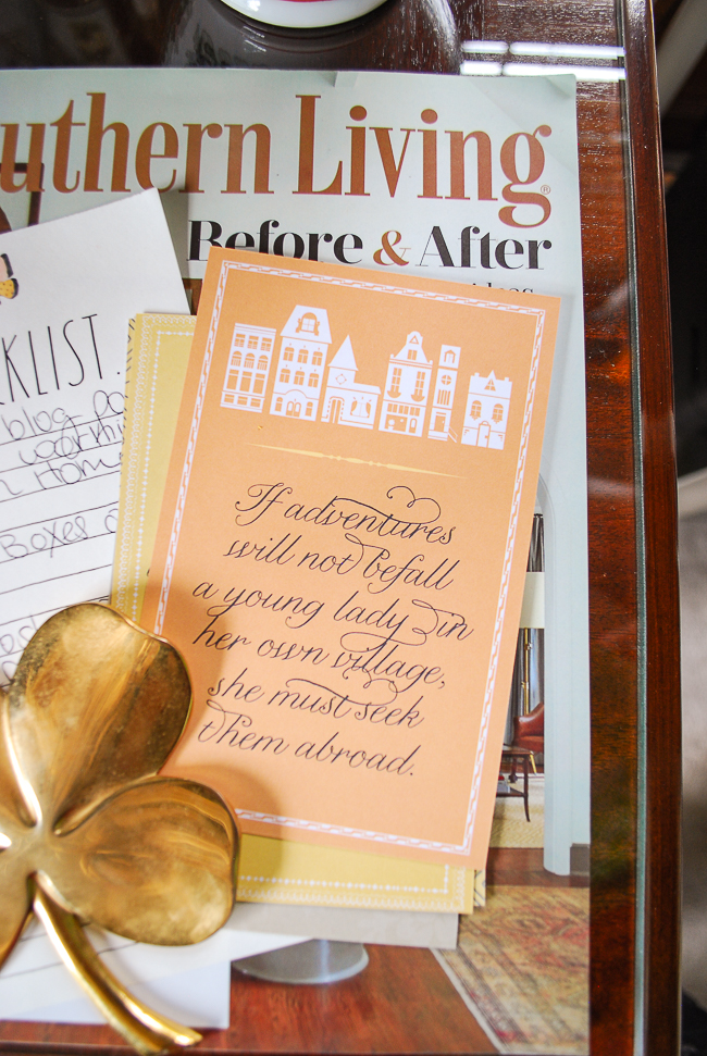 Jane Austen quote on orange postcard for inspiration and writing sweet notes to friends!