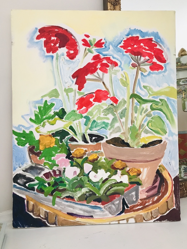 Nancy Thompson Mills painting of red geraniums