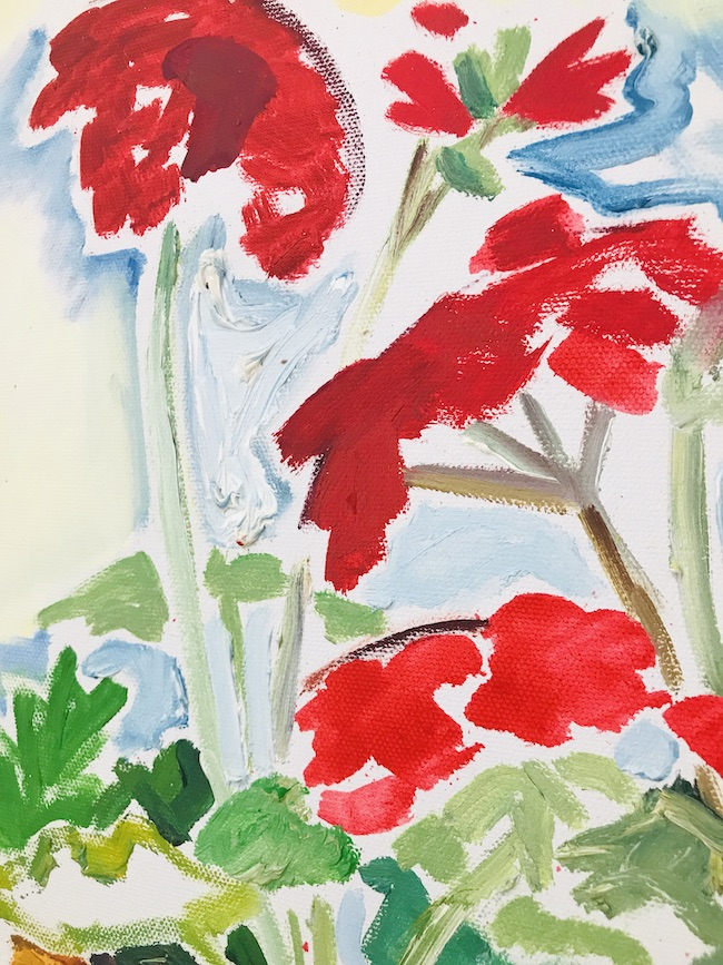 detail of Nancy Thompson Mills painting of red geraniums