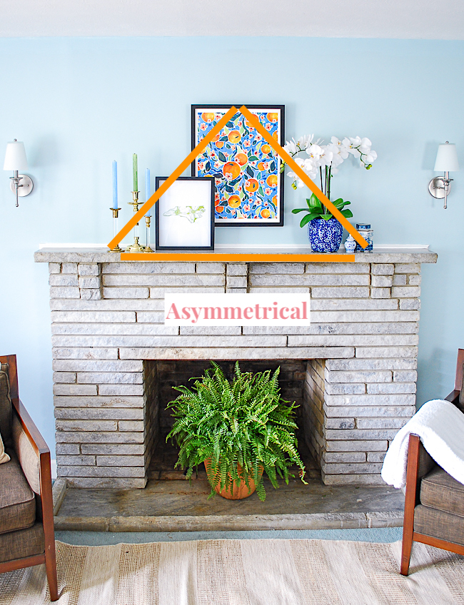 Asymmetrical triangle styling technique for a mantel