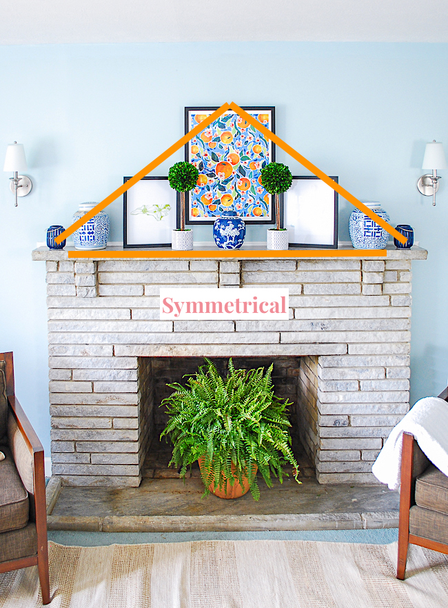 Symmetrical triangle shape styling technique for mantel