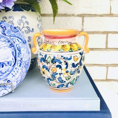 Caltagirone Italian amphora in yellow, blue, and green