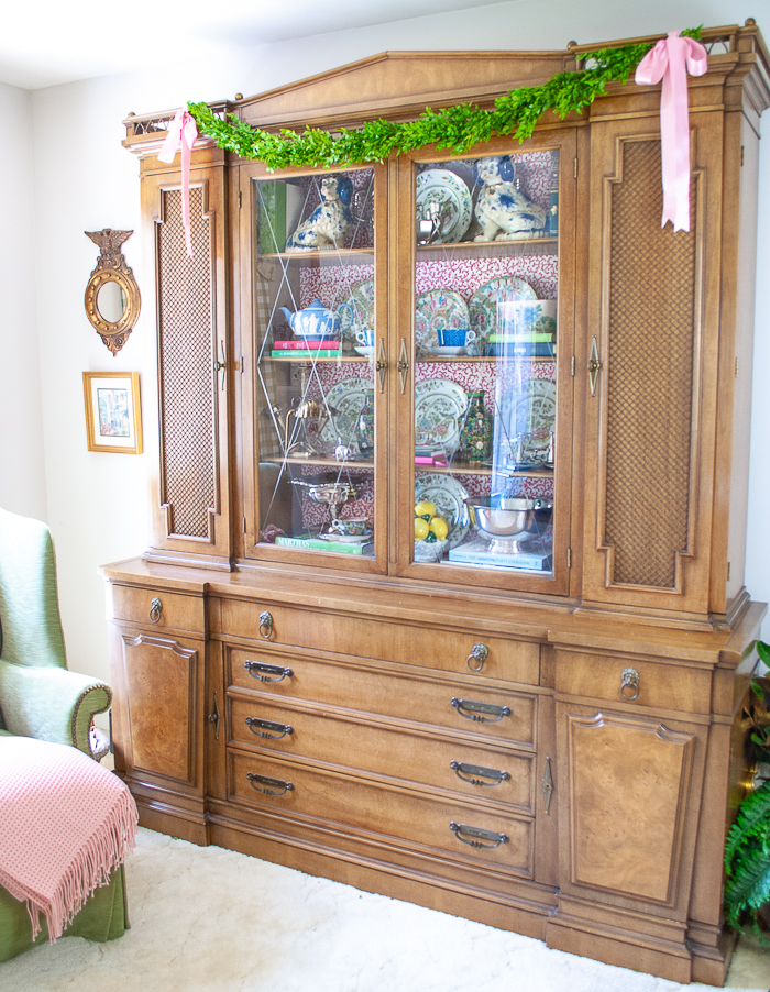 Updated china cabinet with Waverly wallpaper backing