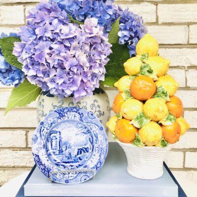 Italian ceramic lemon and orange topiary