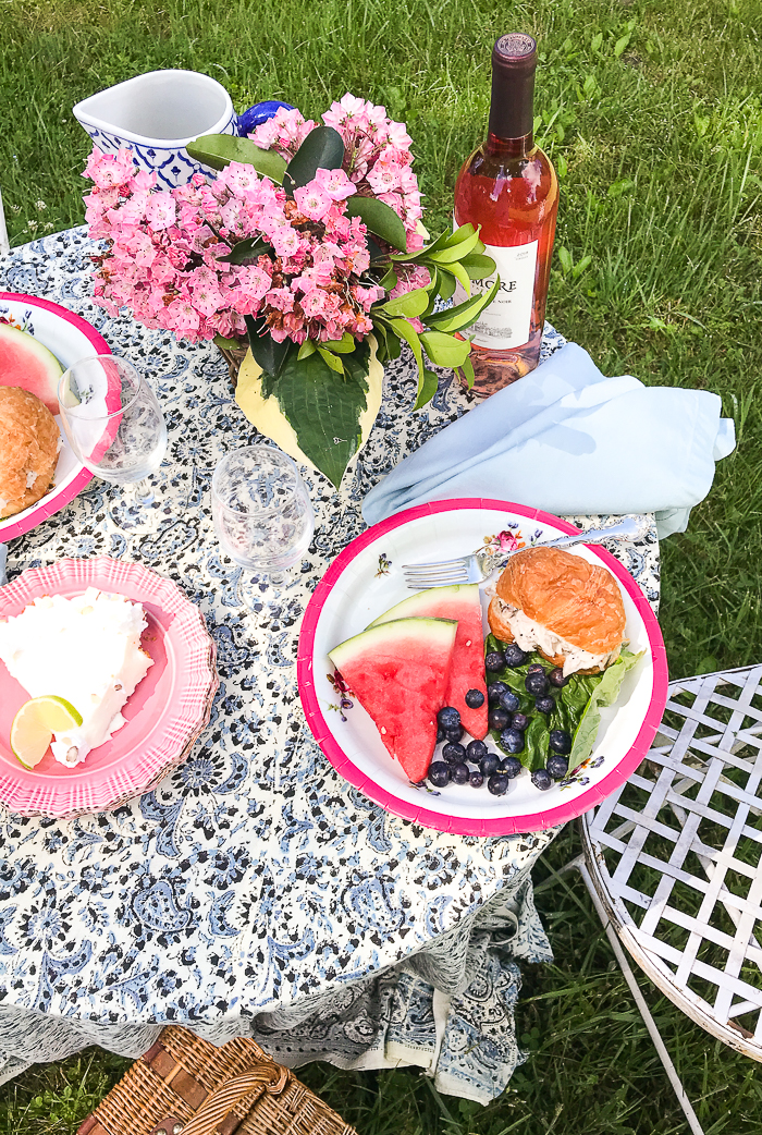 Summer picnic on the pond with table set