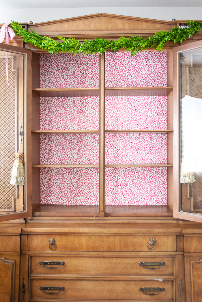 China cabinet with wallpaper backing - Waverly Savoy pattern in coral