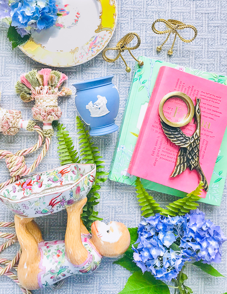 Flatlay of Chinoiserie and Wedgwood antiques found at East Tennessee Thrift Stores