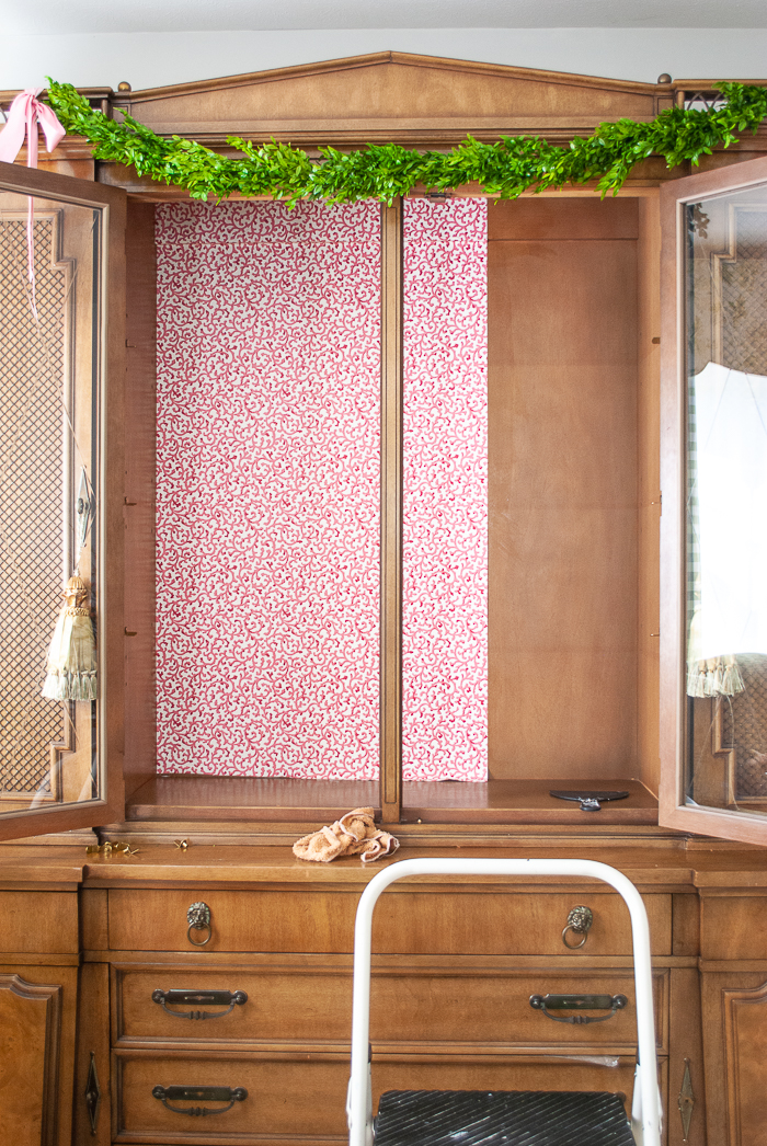 One sheet of wallpaper installed in china cabinet