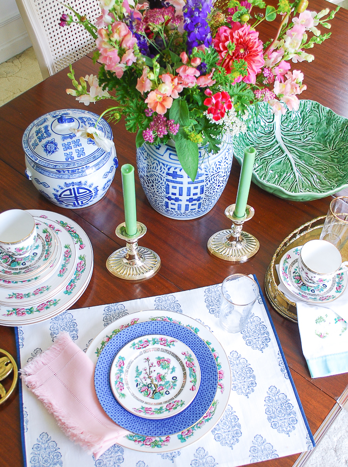 Blue and white tableware all thrift store finds in East Tennessee